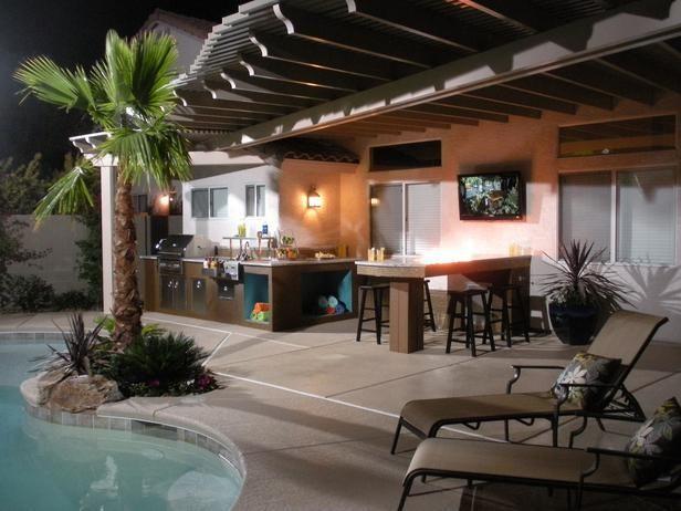 outdoor kitchen designs using green