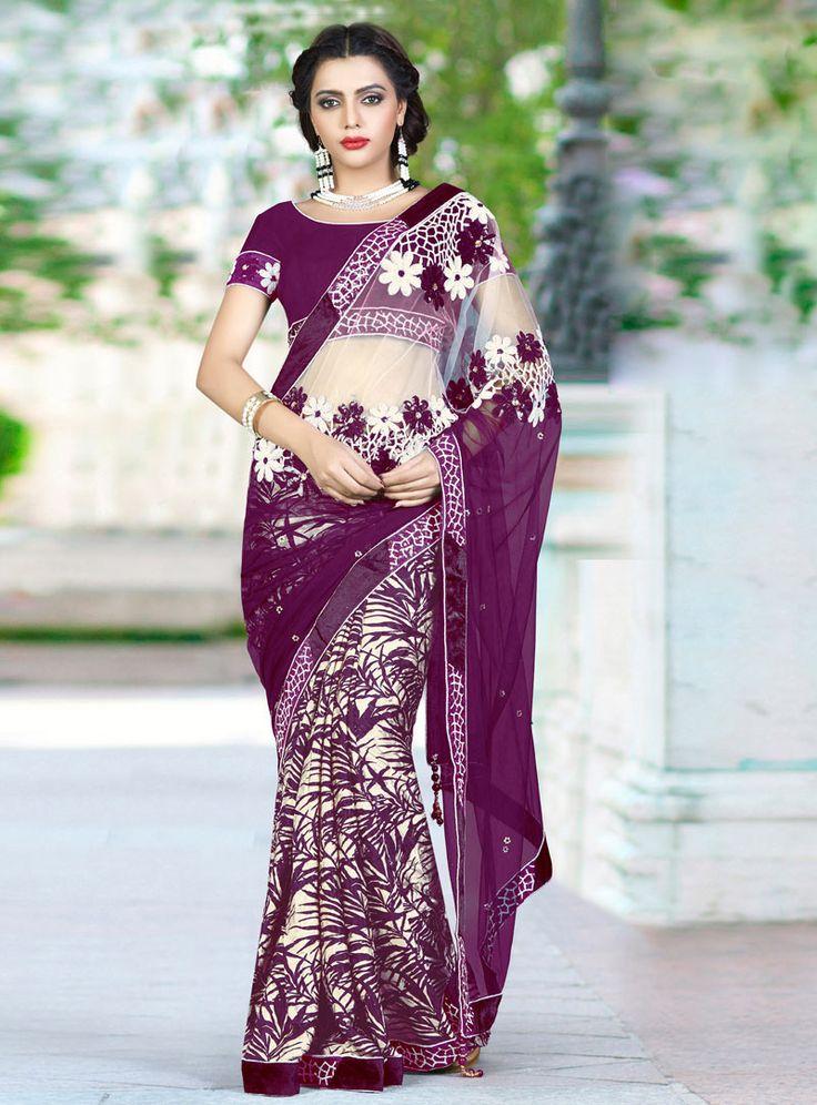Purple Net Party Wear Saree 82688