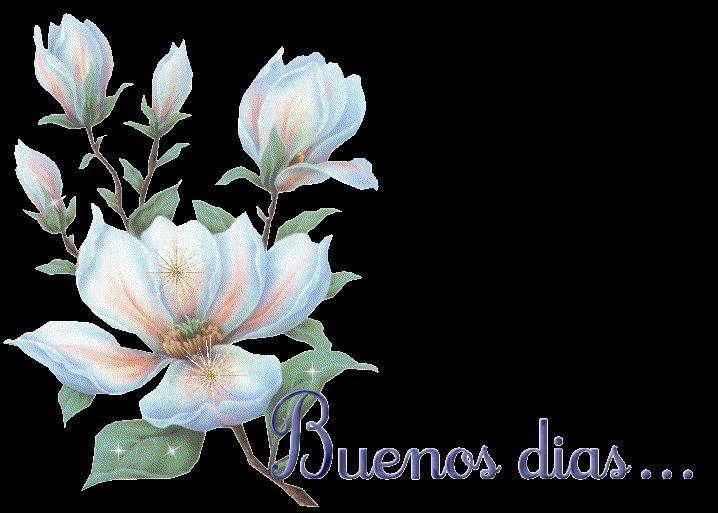 Imagen animada de flores con el texto buenos días.