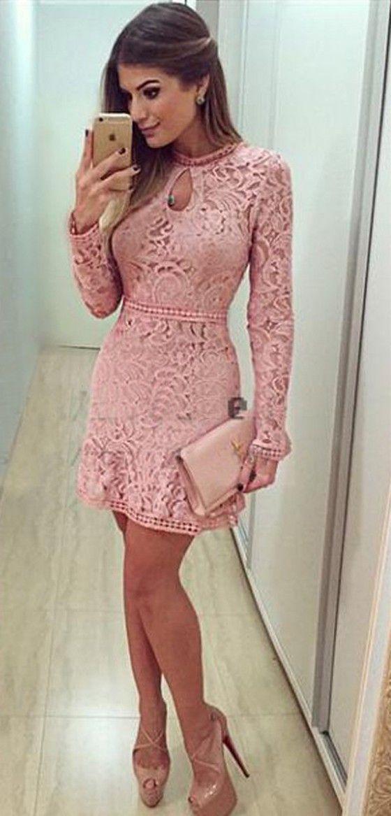 Pink Plain Hollow-out Sweet Lace Mini Dress - Mini Dresses - Dresses