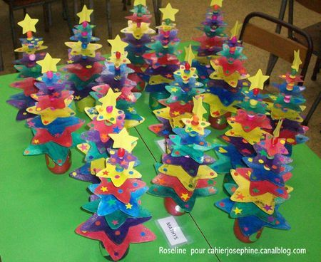 Stars separated by beads anchored in a coloured jar to make Christmas trees with a difference
