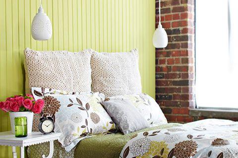custom pillow headboard from Better Homes and Gardens