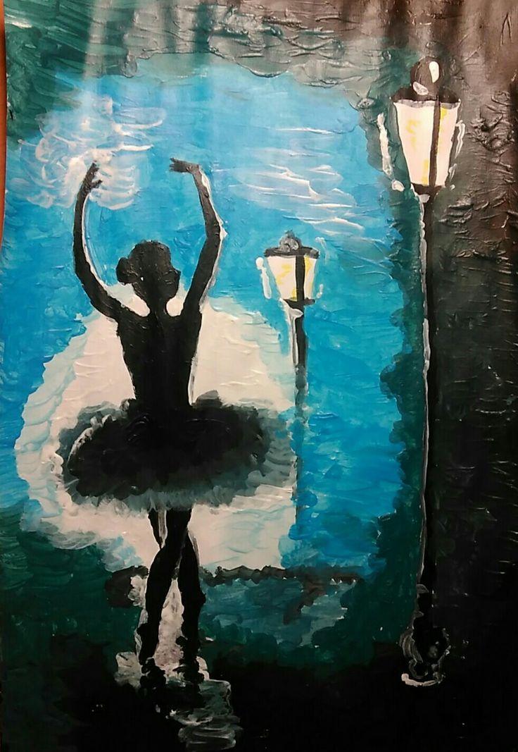 Нарисовала вчера балерину.  Ключевые слова: балерина рисунок фонари тень ночь пачка юбка пуанты