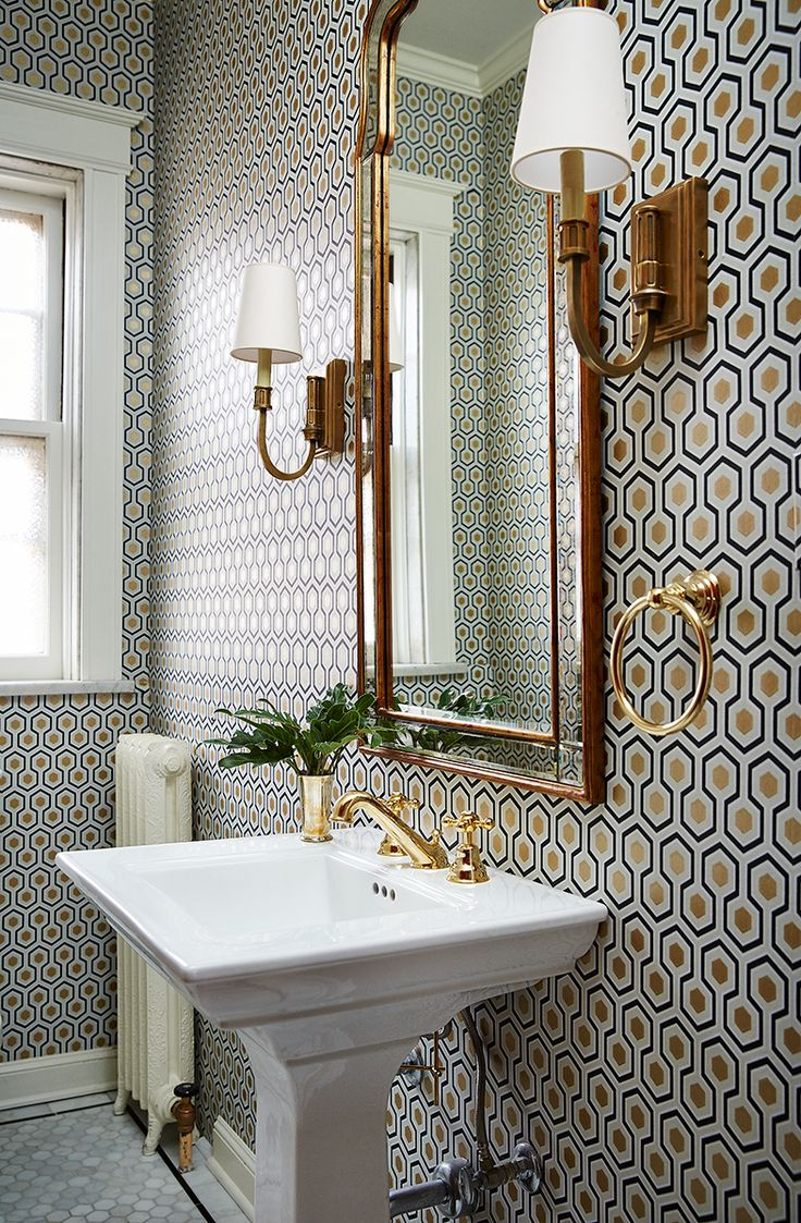 Small Bathroom With A Lot Of Pattern On Wall Wallpaper Gold Mirror Wall