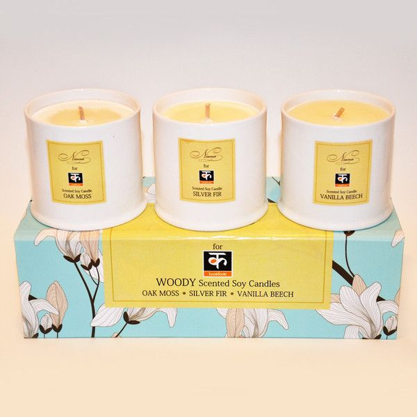 Three-Candle Set by Niana: Niana's luxurious three-scented soy candle sets are hand-poured and made from soybeans.  Soy, unlike paraffin wax, reduces the amount of soot and smoke produced while burning.