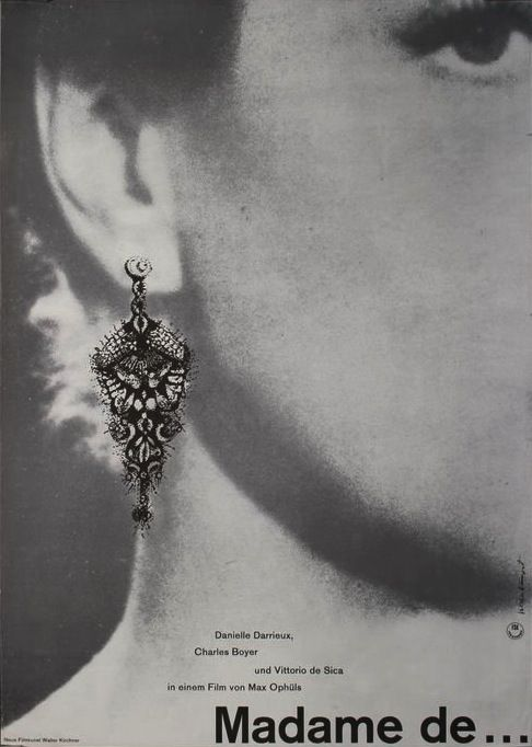 German Poster for The Earrings of Madame de… (Max Ophüls, 1953)
