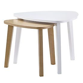 Contemporary Oak and White Nest of Tables