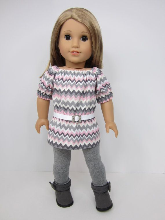 American girl doll clothes  Grey ,pinks chevron print  UK top and grey leggings by JazzyDollDuds.