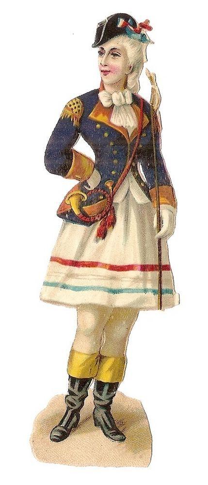 Jeune femme en uniforme - Cor  - Chromo Decoupi  - Victorian Scrap Oblaten