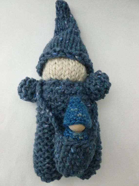 Wooden Knitting Doll : Knit gnome doll with baby my mom and knits