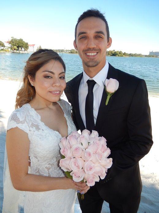 I officiated the wedding of Kevin Shane Fronczak and Lisa Nicole Rivera on Luau Beach, The Polynesian Resort, Walt Disney World.