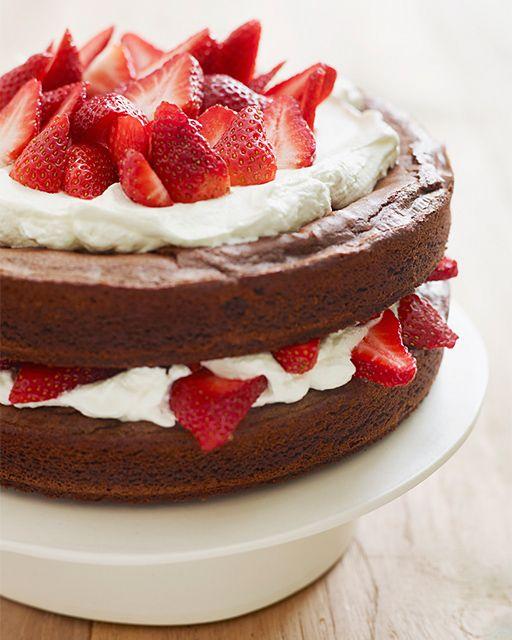 Katie Lee's Strawberry Brownie Layer Cake - http://www.sweetpaulmag.com/food/katie-lees-strawberry-brownie-layer-cake #sweetpaul