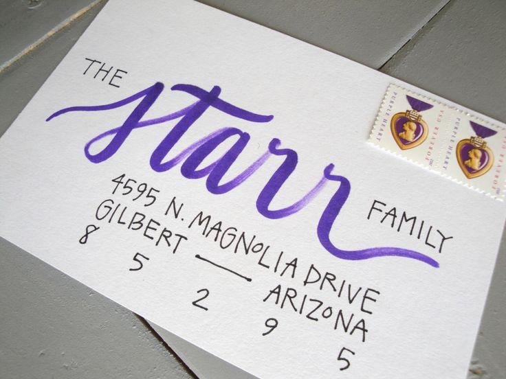 Calligraphy Envelope Addressing, Custom Handwritten Lettering for Wedding Invitation or Christmas Card by InkAndAnne on Etsy https://www.etsy.com/listing/207432577/calligraphy-envelope-addressing-custom