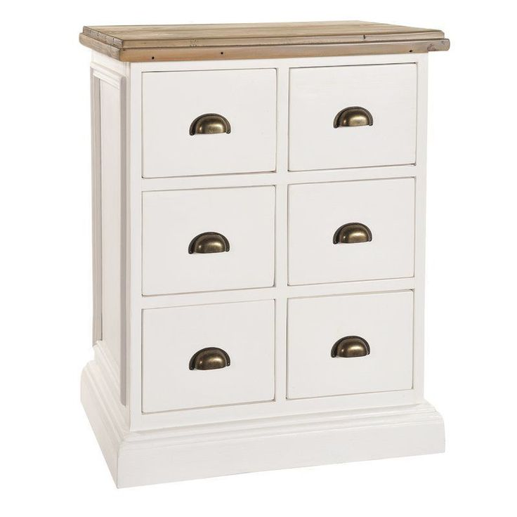 6 Drawers Chest White Brown Solid Pine Wooden Living Room Hallway Furniture