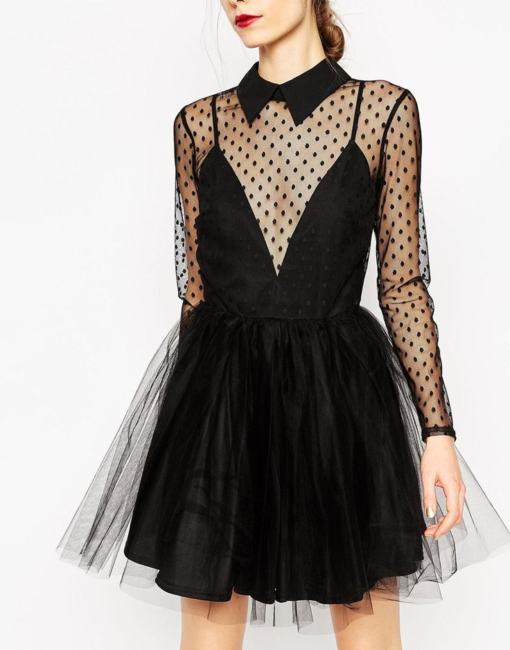 Image 3 of ASOS Lace Netted Prom Mini Skater Dress