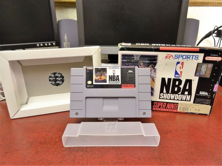 SNES Super Nintendo Entertainment System NBA Showdown Game with Box - Working! #Nintendo