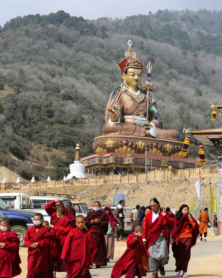 Majestic statue of Guru Rinpoche at Takila, Lhuntshe; Bhutan.