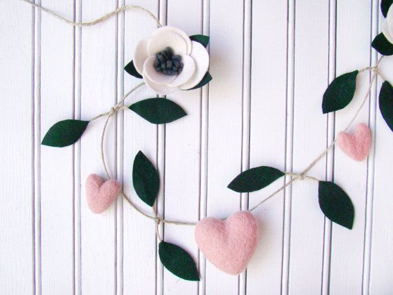 Wedding Chair Garland, Rustic Bride Groom Chair Garland, Felt Flower Heart Chair Bunting, Wedding Decor, Felted Heart Banner, Rustic Romance