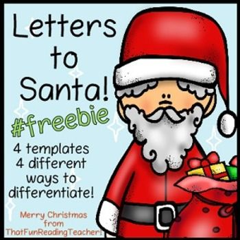 Letter to Santa #freebie - Differentiated Emergent / Easy and Editable templates for Kindergarten - Grade 2