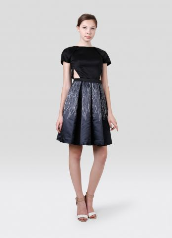 Side Cut-Out Dress with Printed Box-Pleated Skirt