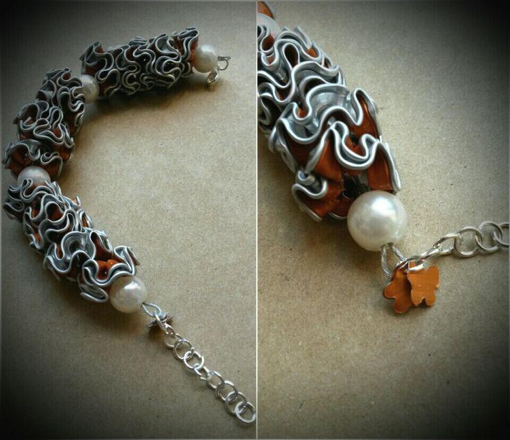 Bracelet made of nespresso capsules in orange - by Lilie