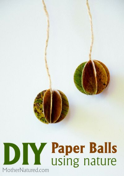 DIY Paper Balls made with nature