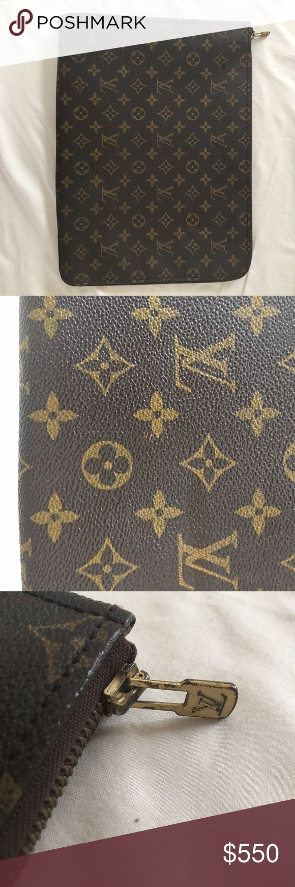 "Vintage Monogram Zip Around File Folder • Leather AUTHENTIC Vintage Louis Vuitton Monogram Zip around Document folder • File Holder Bag • would fit for a laptop bag • RARE • Leather • W 15"" x H 11"" • Please ask all questions Louis Vuitton Bags Travel Bags"