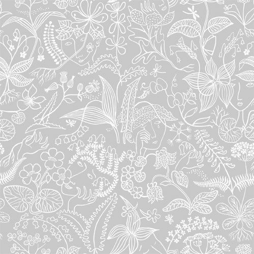 Scandinavian Designers Wallpaper a subtle floral design on a grey background. wallpaper by Borastapeter