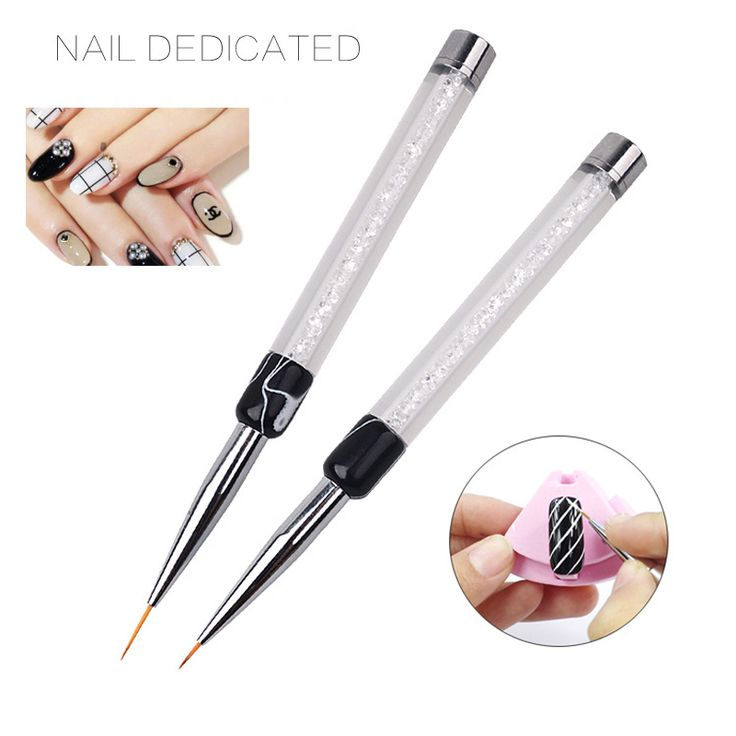 1pc Professional Crystal Acrylic Nail Art Brush UV Gel Painting Drawing Pen Manicure Nail Liner Kit