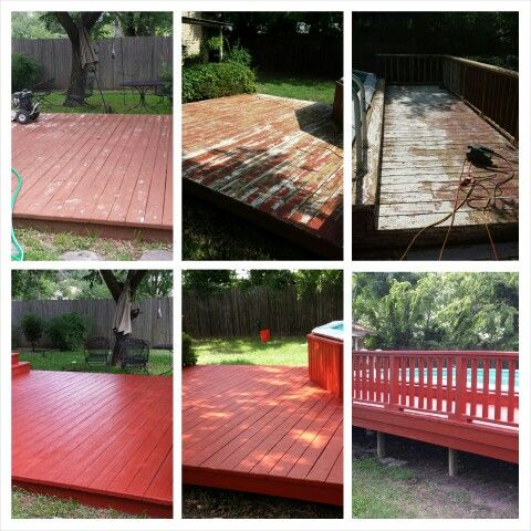 Just finished refinishing a deck. Took about 3 1/2 days. Turned out very nice. Used Behr Deck Stripper, make sure to use eye and skin protection! Powerwashed entire deck and sanded a few rough spots. Primed with Behr Primer and finished with two coats of Behr Deck Paint.