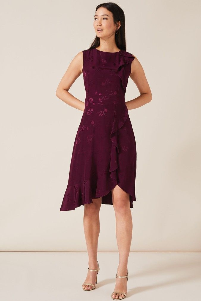 Phase Eight Purple Reese Jacquard Frill Dress Phase Eight Dresses Dresses Frill Dress