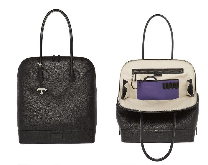 Tillander by Aki Choklat, LIZA business bag, tote, leather, black, purple, Made in Italy