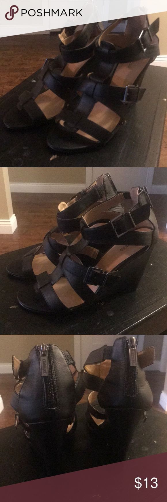 Black wedge sandals. Express wedge sandals. Worn once. Express Shoes Wedges