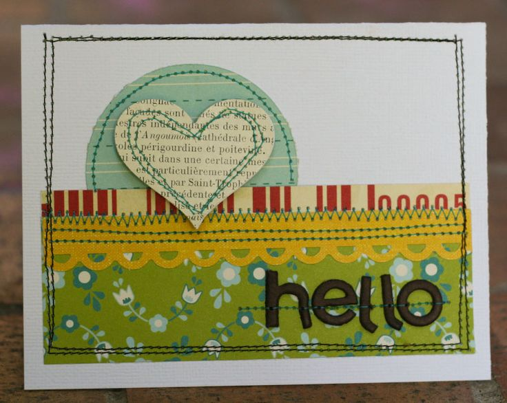 How to sew on paper: Cardmaking Goodies, Paper Card, Cards Scrapbook, Cards Tags, Cards Cards, Greeting Card, Card Making, Block Ideas