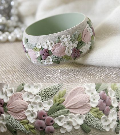 """Купить Браслет """"Утренняя гортензия"""" с цветами из полимерной глины - цветы, цветочный, нежность, розовый, зелёный"""