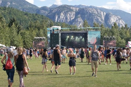 Stawamus Stage venue with the Stawamus Chief mountain in the background