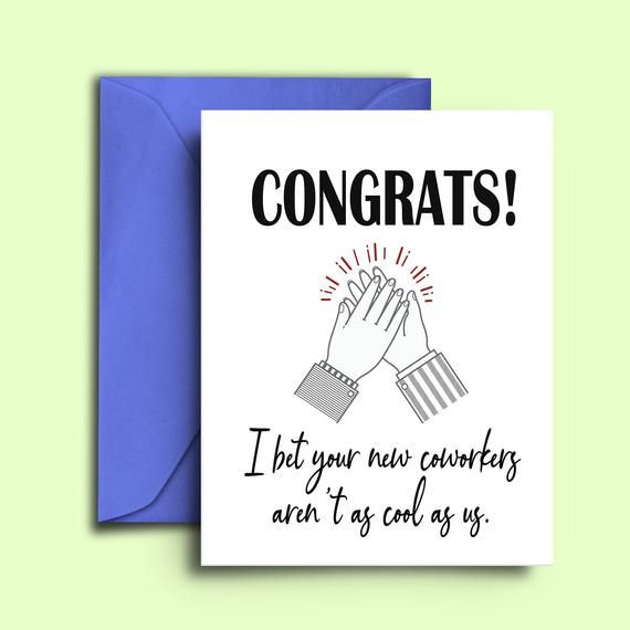 Funny Sarcastic Farewell Card For Coworkers Colleagues I Bet