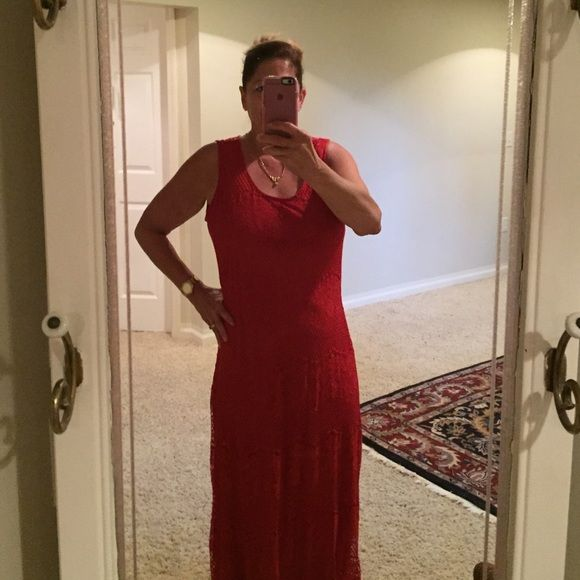 Burnt orange red lace dress Long gorgeous lace dress. Lined. Beautiful. Worn once Dresses