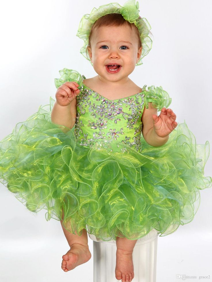 Toddler Glitz Pageant Dresses 2017 With Ruffled Sleeves And Shiny Crystals Lime Green Baby Cupcake Pageant Dress For Little Girls Christening Dresses Dress Stores From Grace2, $99.95| Dhgate.Com
