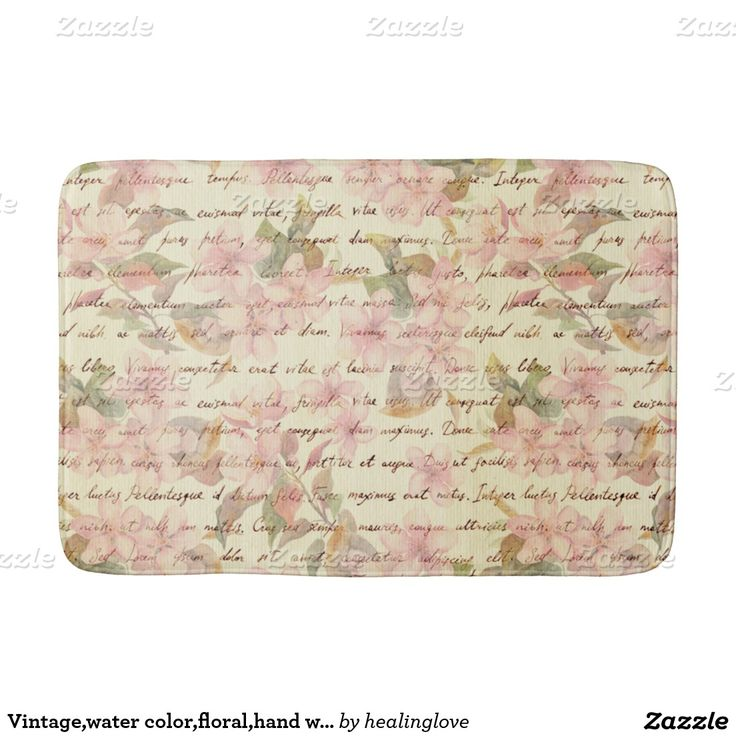 Vintage,water color,floral,hand writtend,victorian bath mats