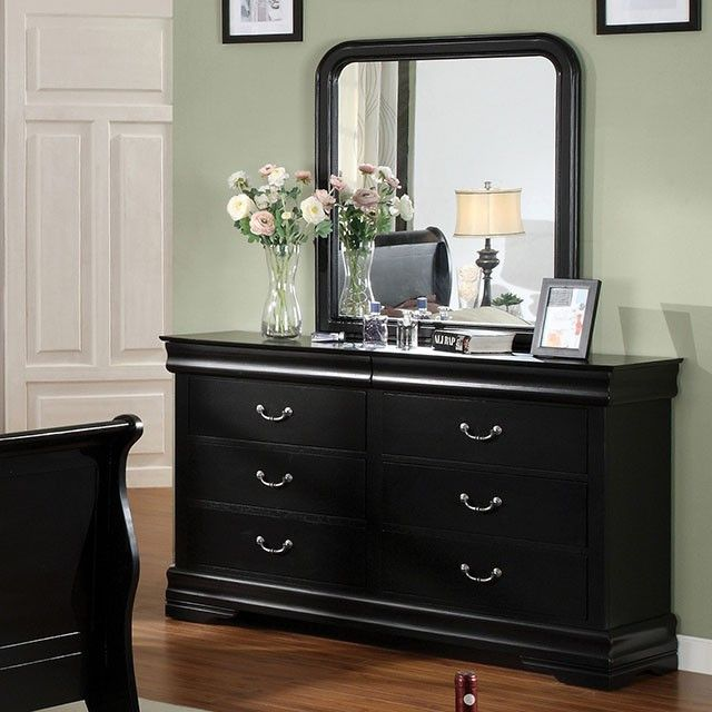 Louis Philippe II Black Dresser - CM7825D Description : Crafted in a warm cherry finish or sleek black finish, this dresser adds the finishing touches to any traditional style theme. The felt-lined hi