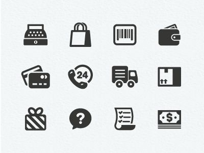 Dribbble - Shopping Icons by Scott Dunlap