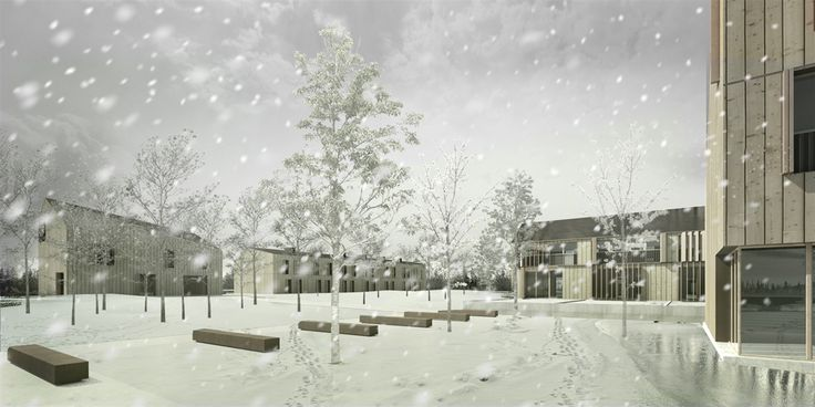 OPERASTUDIO - Project - Social housing in Switzerland - view #render #winter #snow #housing #nopeople