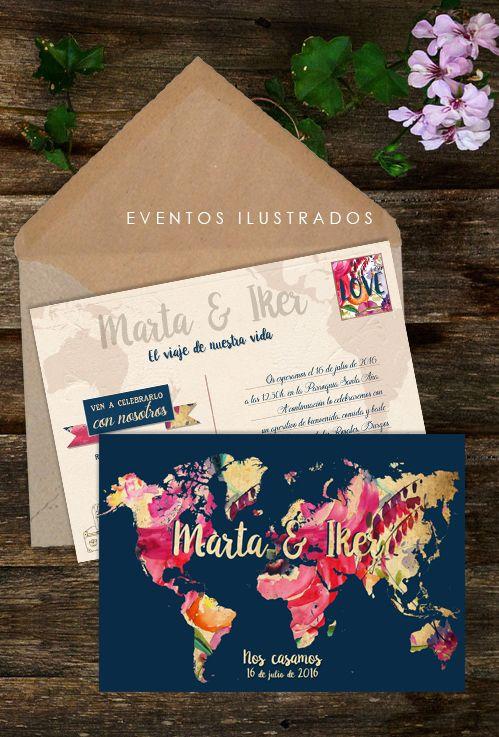 Invitaciones de boda para amantes viajeros. originalidad, modernidad, mucho color y diseño todo en uno!