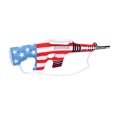"""Privateislandparty.com - Inflatable USA Rifle 9140 $1.29 Every little boy loves the Inflatable USA Rifle. Our red, white and blue Inflatable USA Rifle is a sure hit for your carnival, fair or festival. This item is a huge hit on Memorial Day or Fourth of July! Made with a thick vinyl. Colorful patriotic Inflatable USA Rifle measures 36"""" deflated."""
