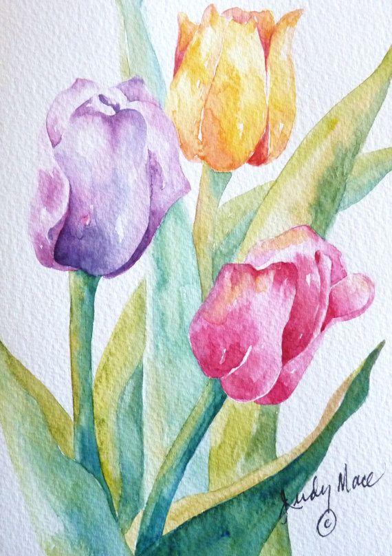 Dit is een aquarel van drie Tulpen van mijn tuin fotos. Het geschilderd op natuurlijke witte Canson wenskaart voorraad. De kaart maatregelen