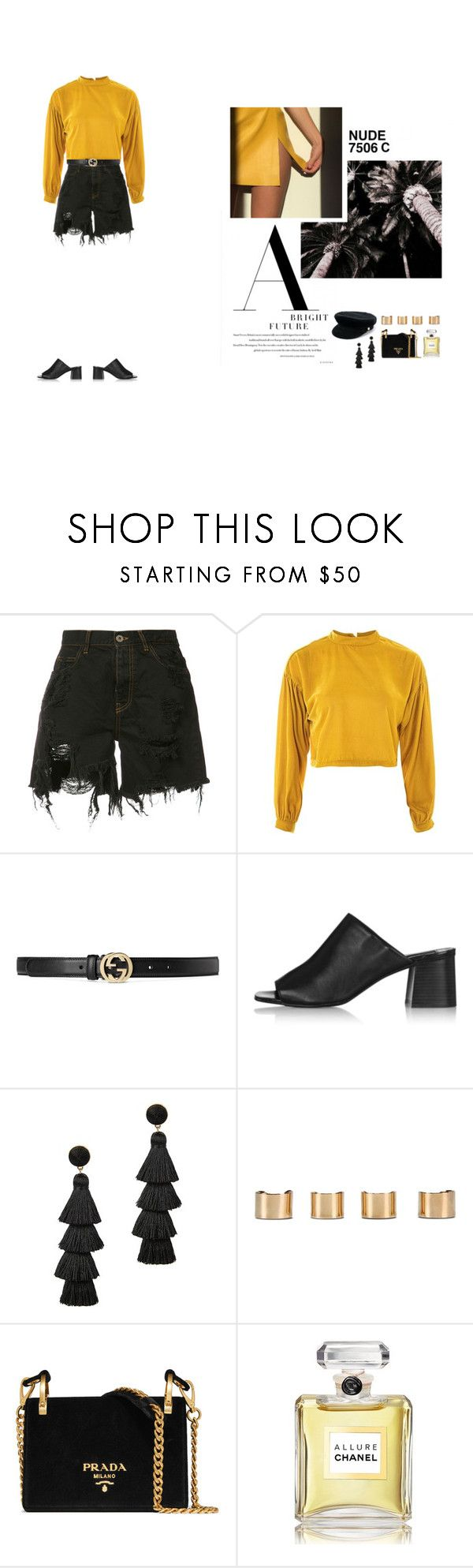 """Bright Future"" by nudenim ❤ liked on Polyvore featuring Faith Connexion, Topshop, Gucci, BaubleBar, Maison Margiela, Prada, Chanel, Manokhi and Pantone"