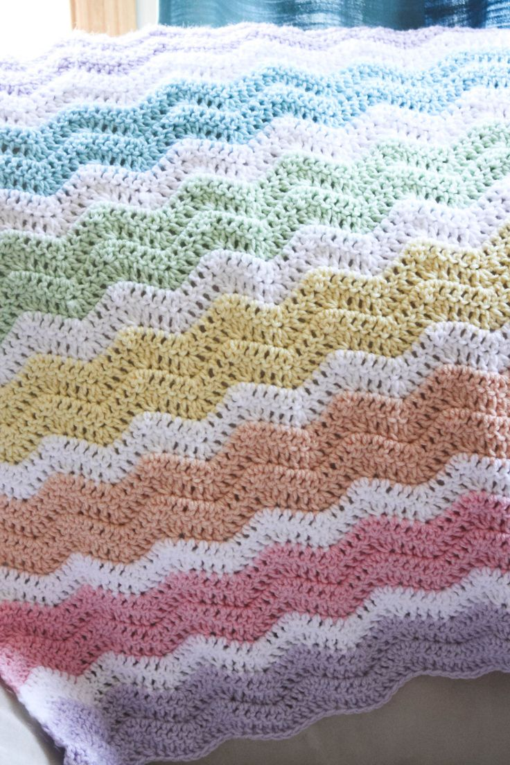 Rainbow Crochet Chevron Baby Blanket by CraftilyEverAfterbyJ on Etsy https://www.etsy.com/listing/257834167/rainbow-crochet-chevron-baby-blanket