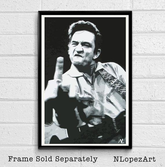 Johnny Cash Music Icon Pop Art Poster Print Size 11 x by NLopezArt