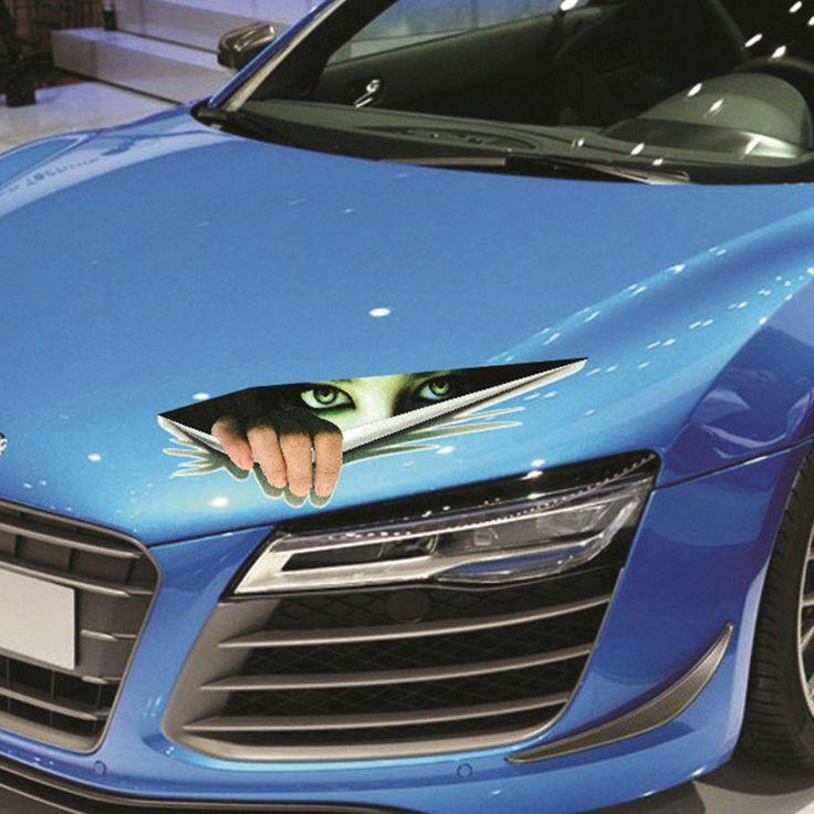 Nova 33.3x9.5 cm Engraçado Etiqueta Do Carro 3D Olhos Espreitando Monstro Voyeur Estilo do carro Capuzes Thriller de Tronco Traseiro Janela Decalque venda quente ~